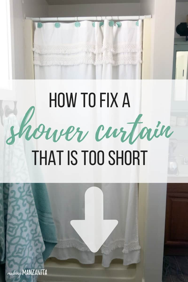 How to fix a shower curtain that is too short | Shower curtain is too short | Shower curtain not long enough | Short shower curtain | Making shower curtain longer | Bathroom hack | How to make your shower curtain longer | How to make your shower curtain taller | Why is my shower curtain too short | Fixing a short shower curtain | Add fringe trim to shower curtain to make it longer | Boho shower curtain | Macrame shower curtain | White boho shower curtain