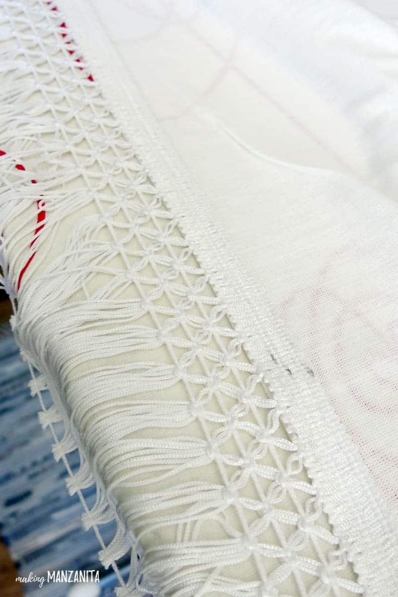 Boho Fringe trim on the bottom of curtains | Add boho trim to shower curtain
