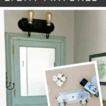 Before and after of the spray painted light fixture makeover with before picture in corner showing an outdated silver vanity light taken apart with a can of spray paint next to it with text overlay that says how to spray paint light fixture