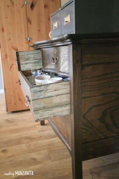Add Pops Of Color With Peel and Stick Wallpaper To The Sides of Drawers