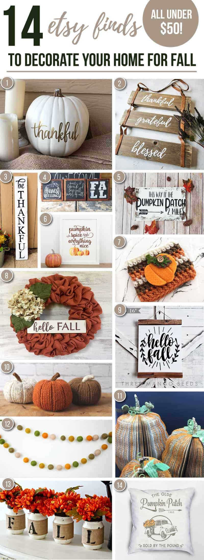 14 etsy finds to decorate your home for fall all under 50 for Simple decorating 50 ways to inspire your home