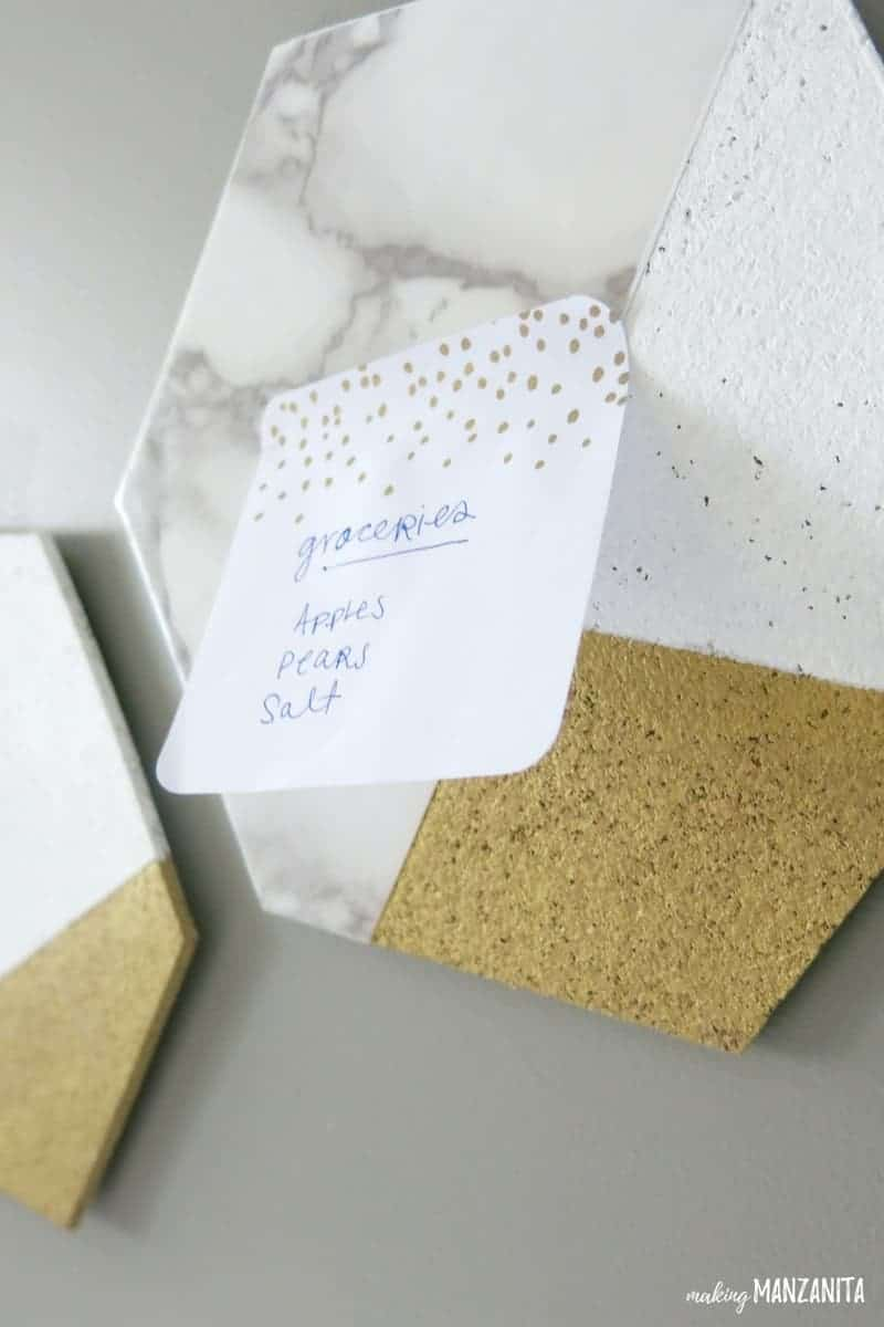 DIY hexagon cork board with post-it hung on the wall