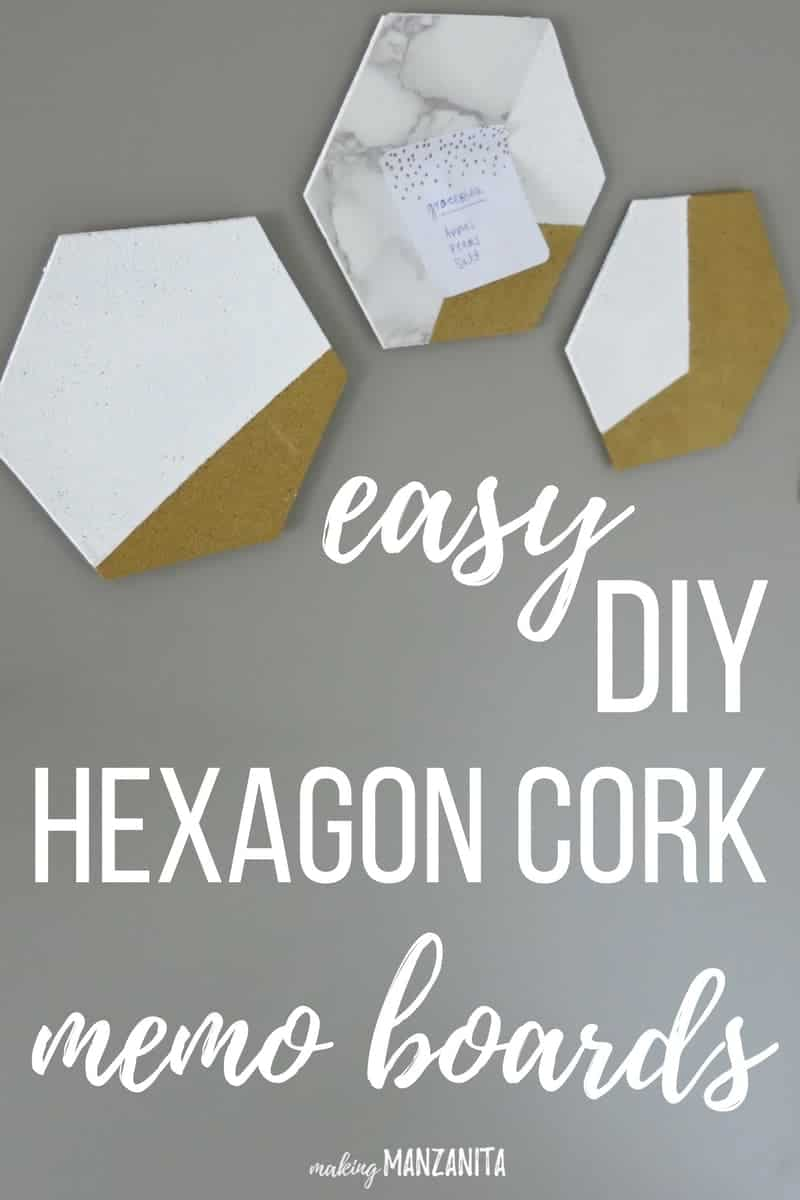 These easy DIY hexagon cork memo boards are so simple to make and they add a ton of style to your home office. They would even look cute hanging up in your cubicle at work. I love these gold and white with marble cork boards.