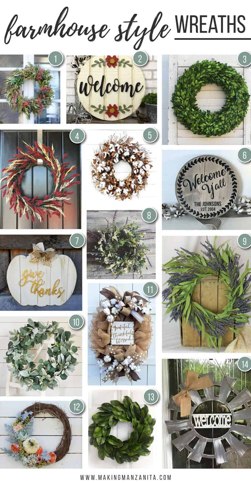 14 Farmhouse style wreaths that you need for your front door! These farmhouse wreaths will give you that fixer upper style on your front door!