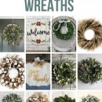 Collage of 12 different farmhouse wreaths with text overlay that says Farmhouse Style Wreaths