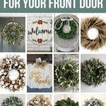 Collage of 12 different farmhouse wreaths with text overlay that says Farmhouse Wreaths For Your Front Door