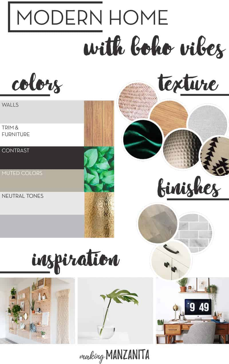 Modern Boho Home Mood Board - Boho Home Decor Ideas - How To Decorate In Modern Boho Style - I love this modern home with boho vibes and pops of green and gold - Black and white home with boho style