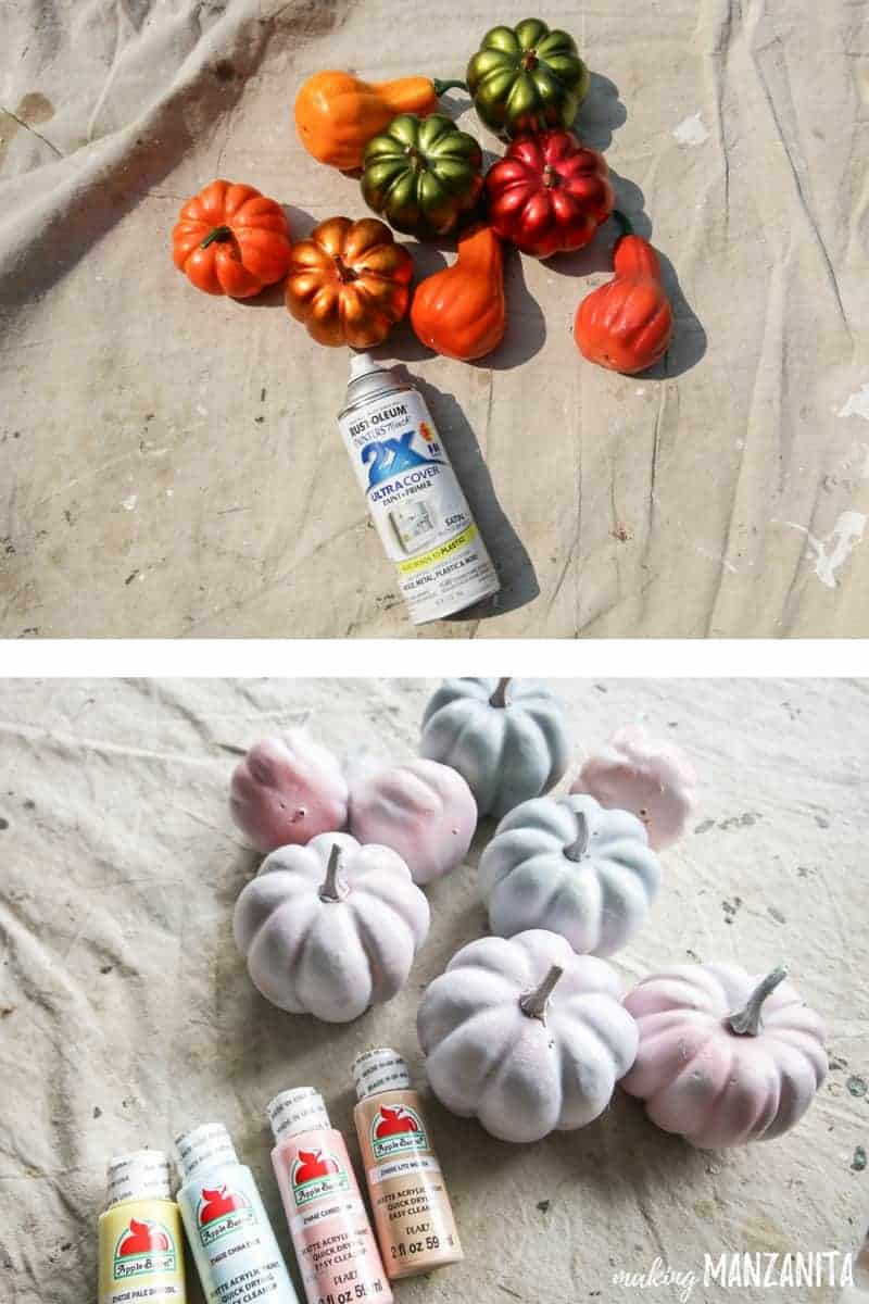 Top photo shows bright orange and metallic mini pumpkins and gourds laying on a drop cloth next to a bottle of white spray paint and bottom picture shows pumpkins painted with pastel colors laying next to acrylic craft paint