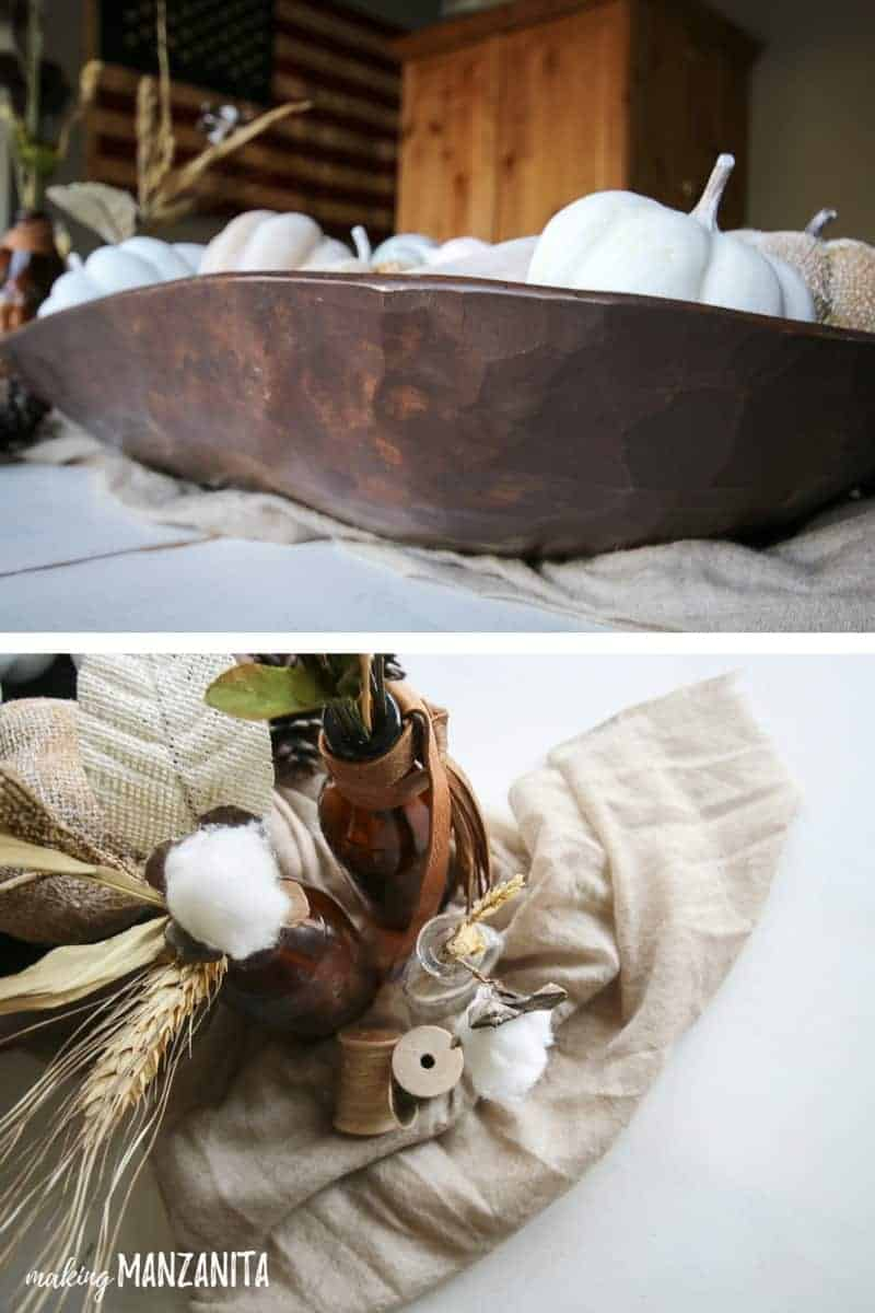 Top photo shows detail on the edge of hand carved wooden dough bowl and bottom picture shows flat lay of rustic fall table decorations