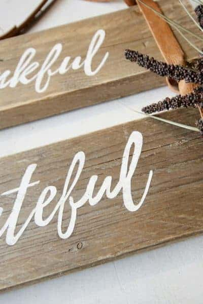 Fall Sign: Thankful Grateful Blessed Pallet Wood Sign with Leather Straps