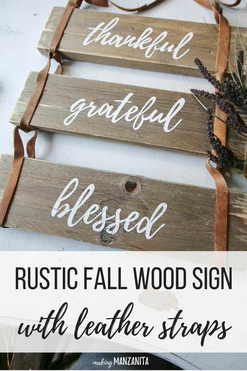 I love the look of this rustic fall wood sign with leather straps. Great way to use pallet wood and recycled leather! Fits right in with my boho farmhouse decor and perfect to decorate home for Fall.