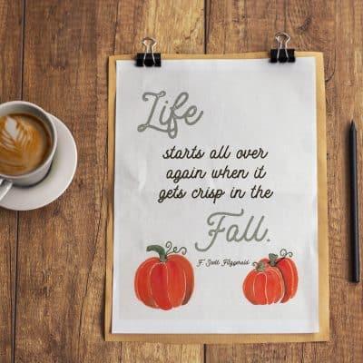 Free Fall Printable with Watercolor Pumpkins