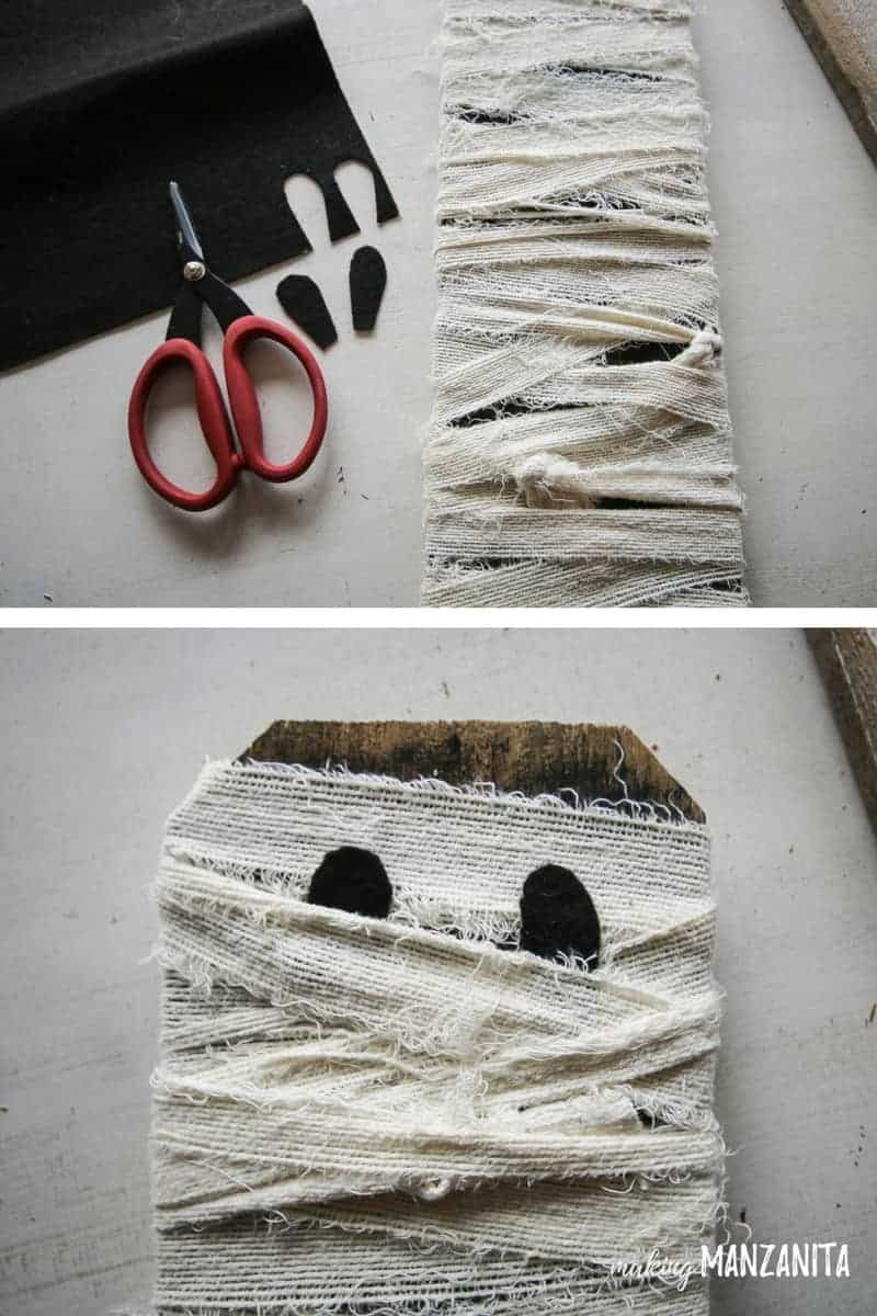 Use black adhesive felt to add in eyes for your fun mummy Halloween porch decoration!
