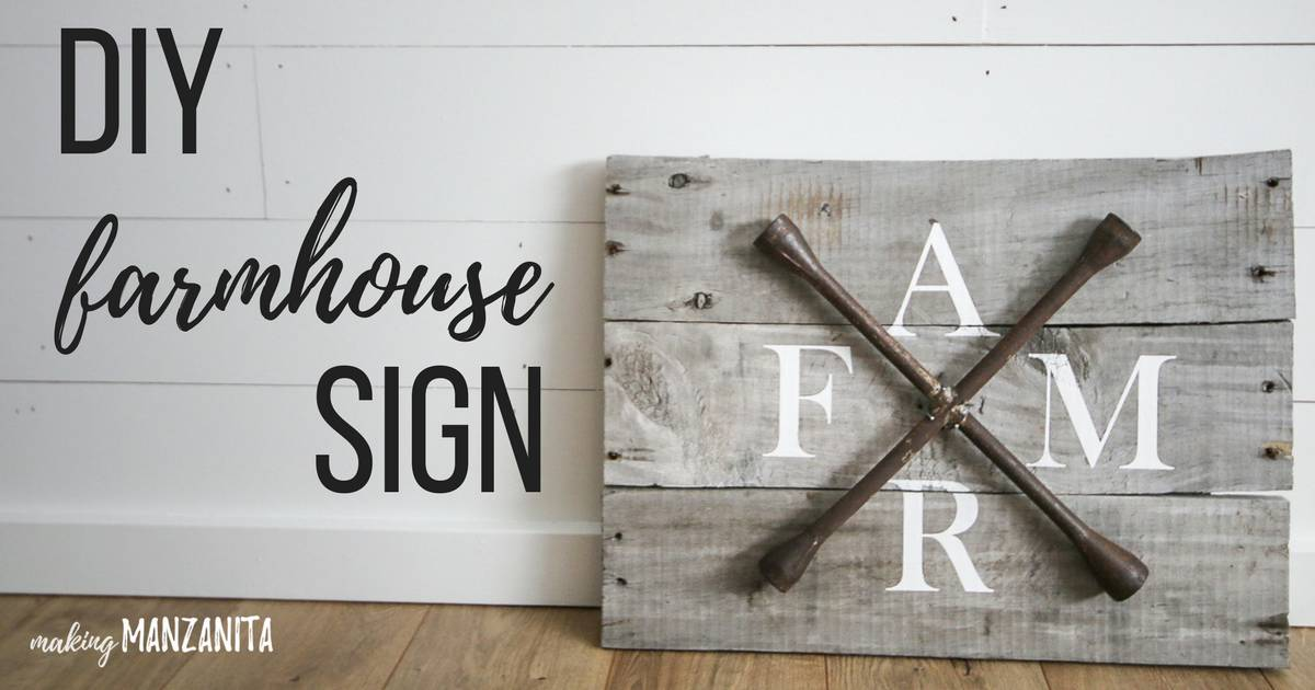 Farmhouse sign made with a lug wrench with text overlay that says DIY farmhouse sign