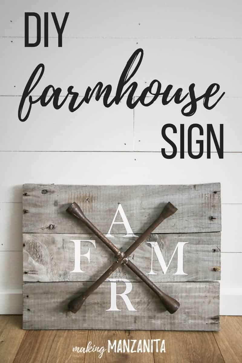 Farmhouse sign with text overlay on photo that says DIY farmhouse sign