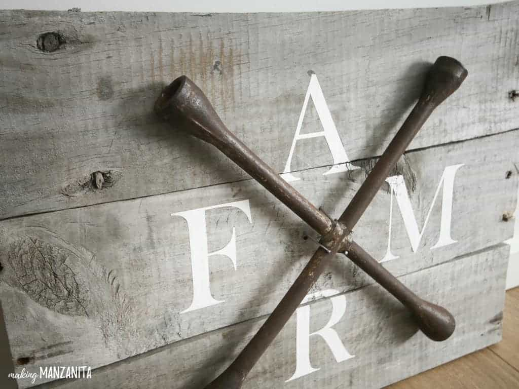 DIY Farmhouse Sign with Pallet Wood and Repurposed Lug Wrench