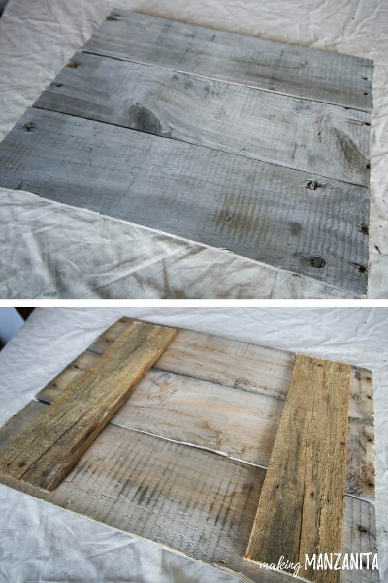 Front and back of farmhouse sign made with reclaimed pallet wood