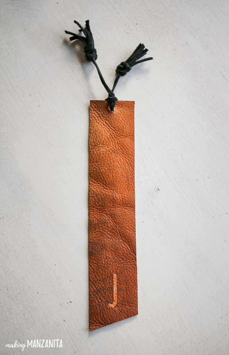 personalized Leather Bookmark with initial with tassels