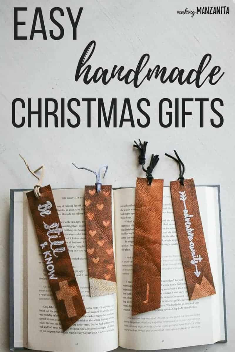 a few different leather bookmarks with different designs laying on an open book with overlay text that says easy handmade Christmas gifts