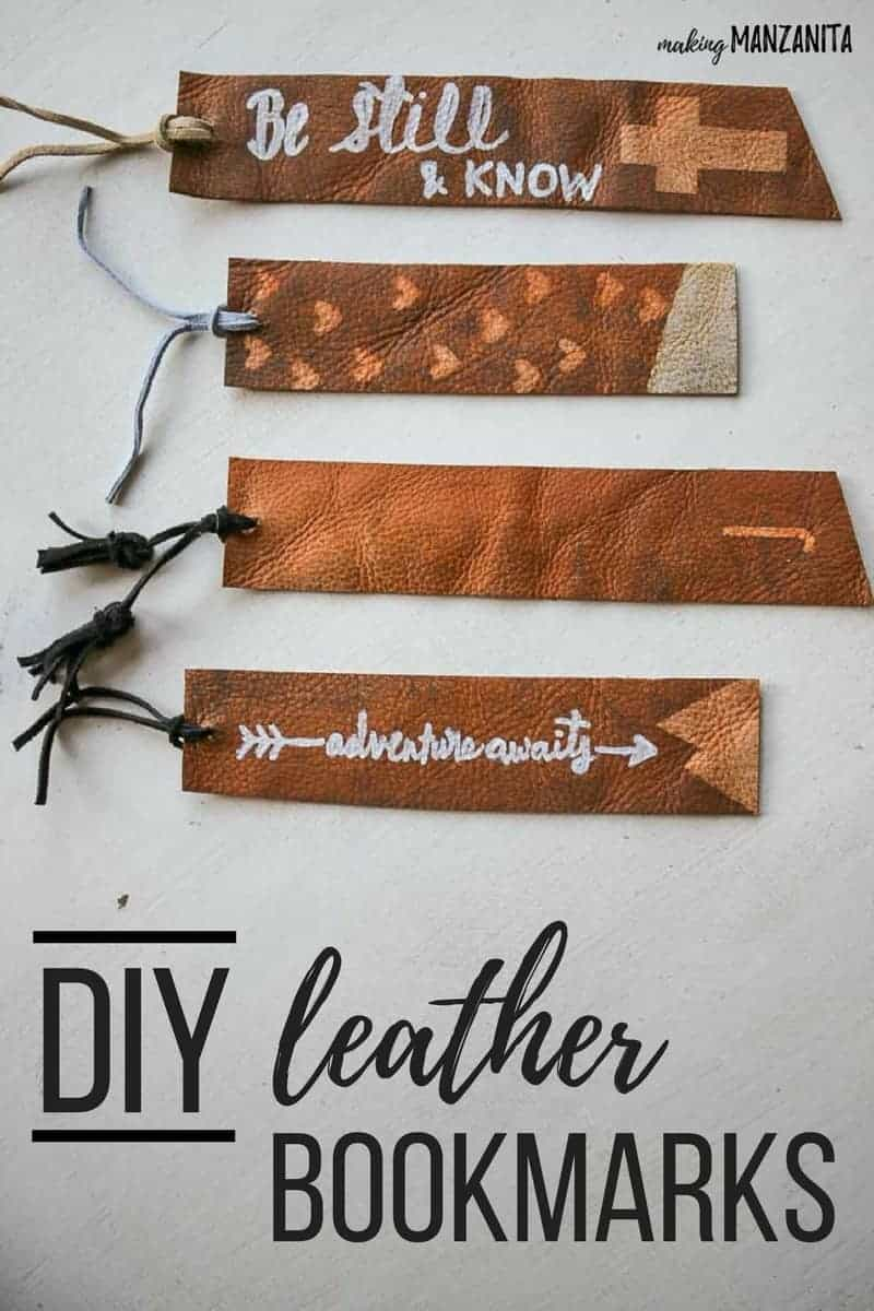 shows 4 different designed leather book marks with tassels