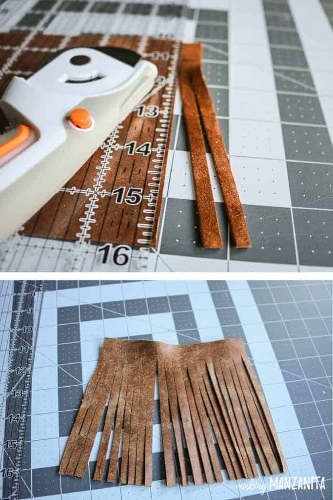Creating tassels by cutting strips in a square of leather to make a leather tassel keychain