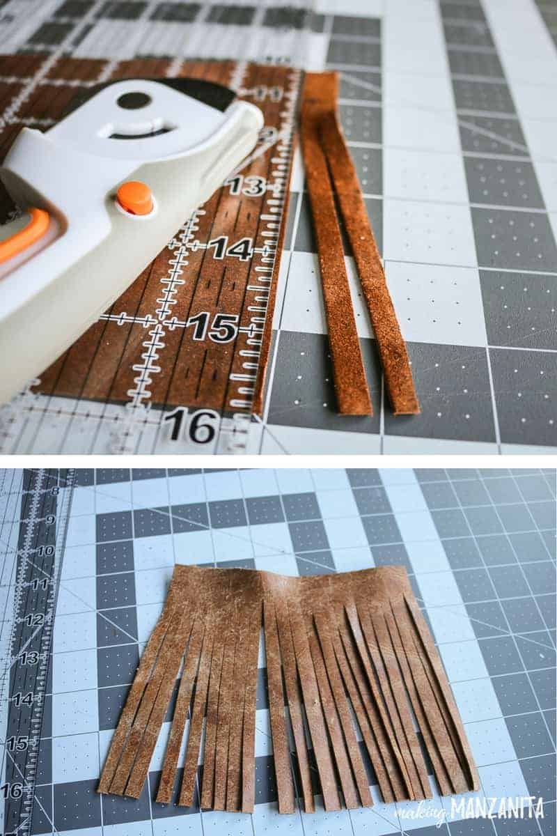 Photo above shows the measuring of the leather squares to create tassel photo below shows the finished DIY tassel