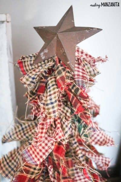 How To Make Primitive Mini Christmas Trees with Homespun Fabric