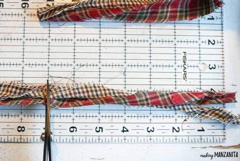 Measuring and cutting the homespun fabrics.