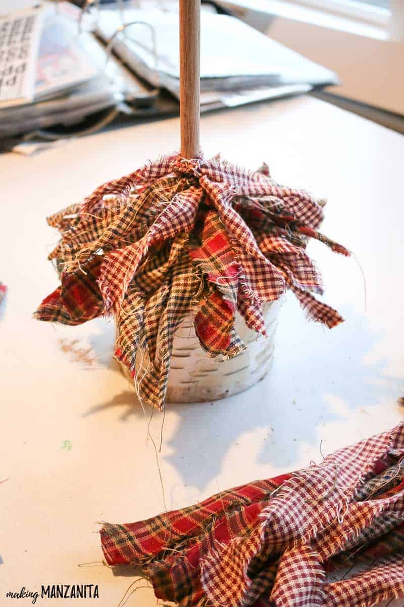 Some layers of the tied fabric to make the fabric Christmas tree.