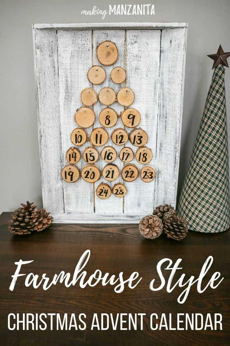 Farmhouse style Christmas Advent Calendar ideas   DIY Rustic Christmas Advent Calendar Countdown   Turn the wood rounds over to display the numbers as you count down the days till Christmas   Easy Christmas Crafts   Farmhouse Decorations   Fixer upper style Xmas decor   White and tan Christmas decor   Neutral Holiday   Perfect for your mantle   Decorating with farmhouse style for Christmas   Christmas count down signs   Wood rounds nailed to wood tray