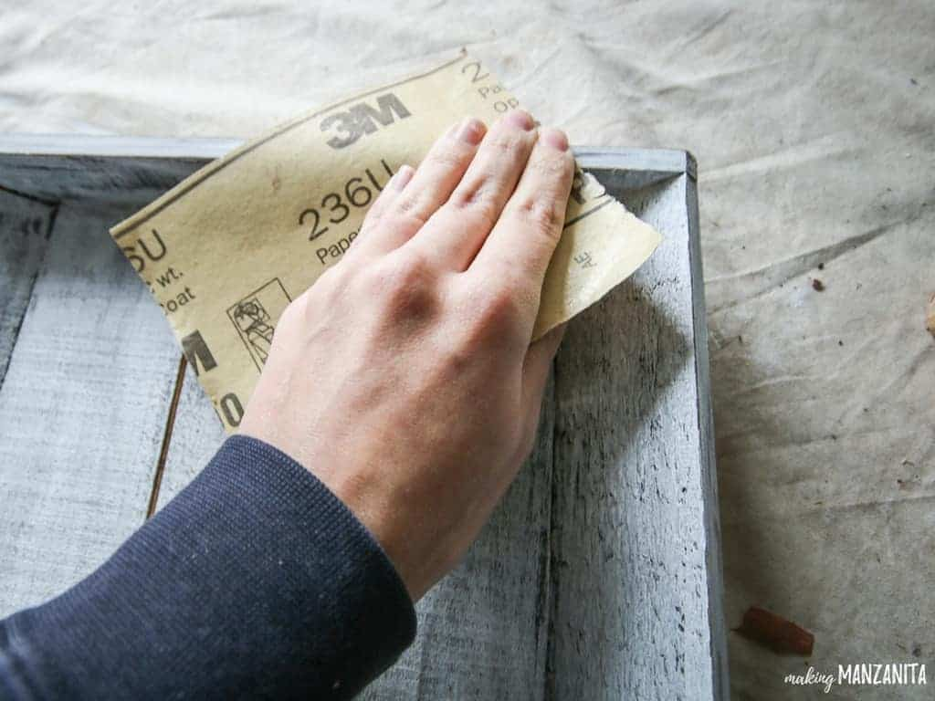 Distressing a farmhouse style wood tray   Christmas Advent Countdown ideas