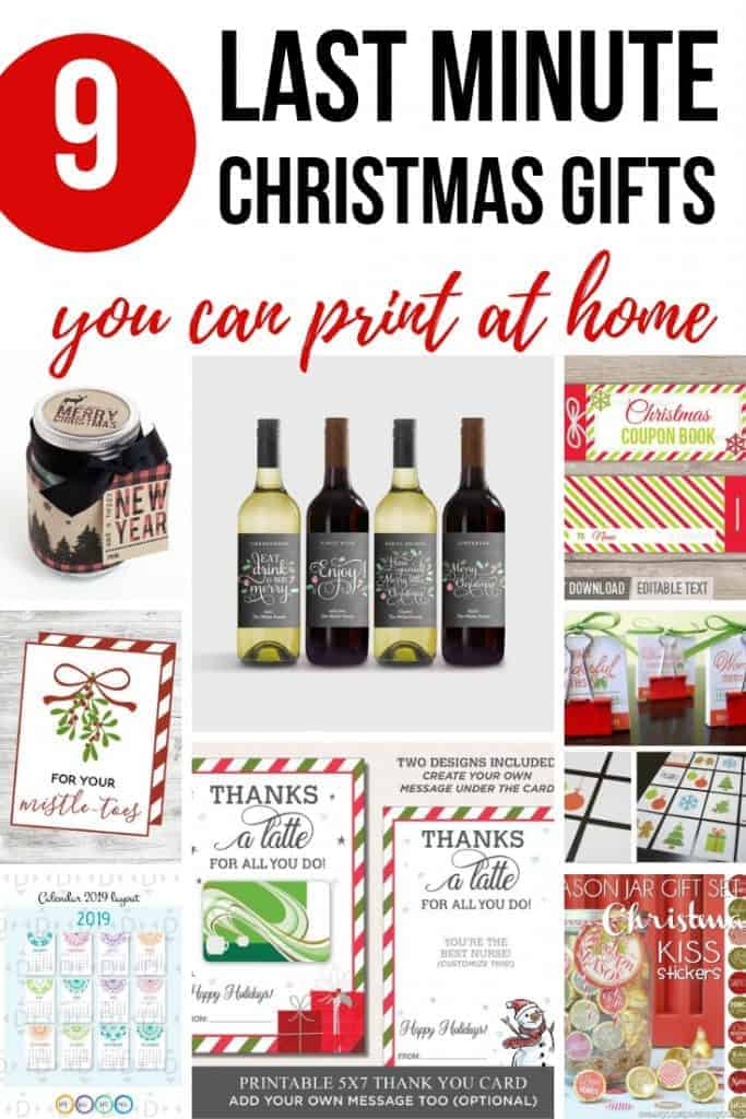 For your Mistle-Toes Tag, wine labels, Thanks a Latte gift card holder, kiss stickers, matching game, calendar, coupon book, candy bar wrappers, mason jar label, with text overlay that says 9 Last Minute Christmas Gifts You Can Print at Home