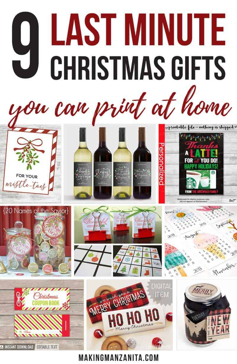 If you're a procrastinator, you're going to love these unique 9 last minute printable Christmas gifts For Procrastinators that you can print at home for your friends! These are budget friendly and all less than $10 each. Awesome printable simple Xmas gift ideas. In A Jar. Mistletoe's Tag. Wine Labels, Thanks A Latte Gift Card Holder, Hershey Kiss Stickers, Matching Game For Kids. Calendar. Coupon Book. Holiday Candy Wrappers. Mason Jar Decorations. So many ideas for teachers coaches neighbors families