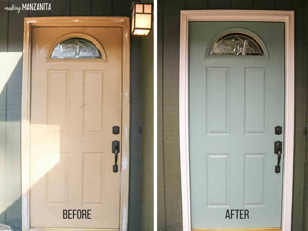 2 photos side by side showing the before and after of painting a front door. Before photo shows tan door, after photo show blue green door with white trim