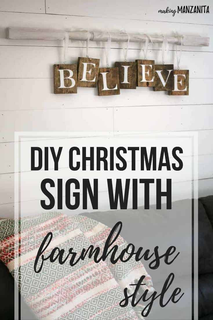 DIY Christmas wood sign with farmhouse style tutorials | Rustic BELIEVE sign on vintage spindle with letters for Xmas | Simple Christmas Home Decor ideas fixer upper style | How to make awesome words hanging on spindle with ribbon |