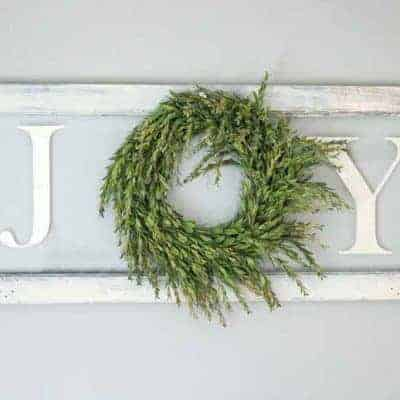 DIY Joy Sign With Wreath On Vintage Window