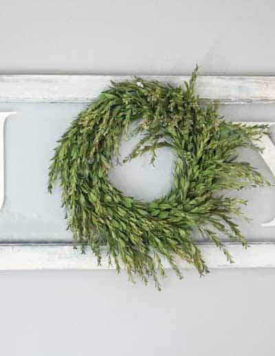 DIY Joy Sign With Wreath On Vintage Window