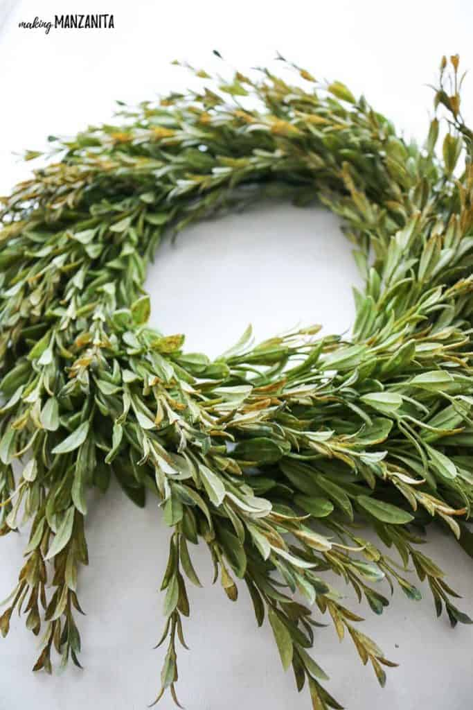 a homemade farmhouse wreath is a great homemade mother's day present for any mom that loves farmhouse style decor