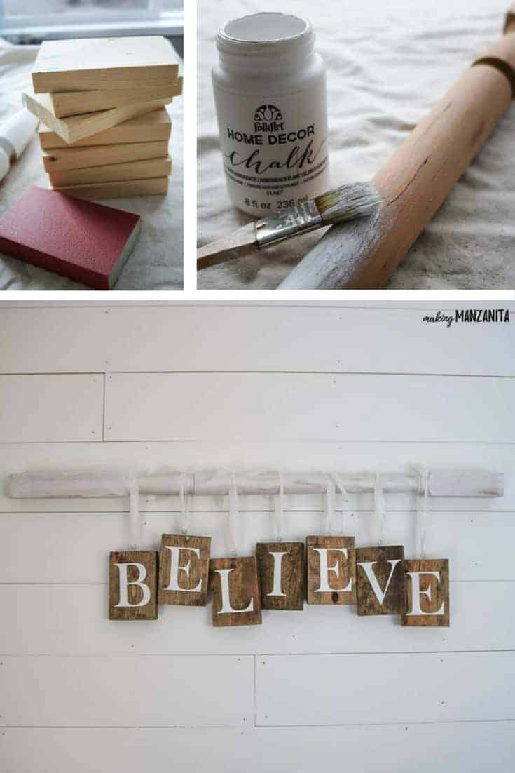 How to make a DIY Christmas sign with farmhouse style | Cut wood pieces with BELIEVE painted on with stencils and chalk painted spindle hung on the wall for simple and affordable farmhouse Christmas decorations | Fixer upper Holiday decor ideas | Farmhouse living room with shiplap wall | How to decorate for Christmas with farmhouse style