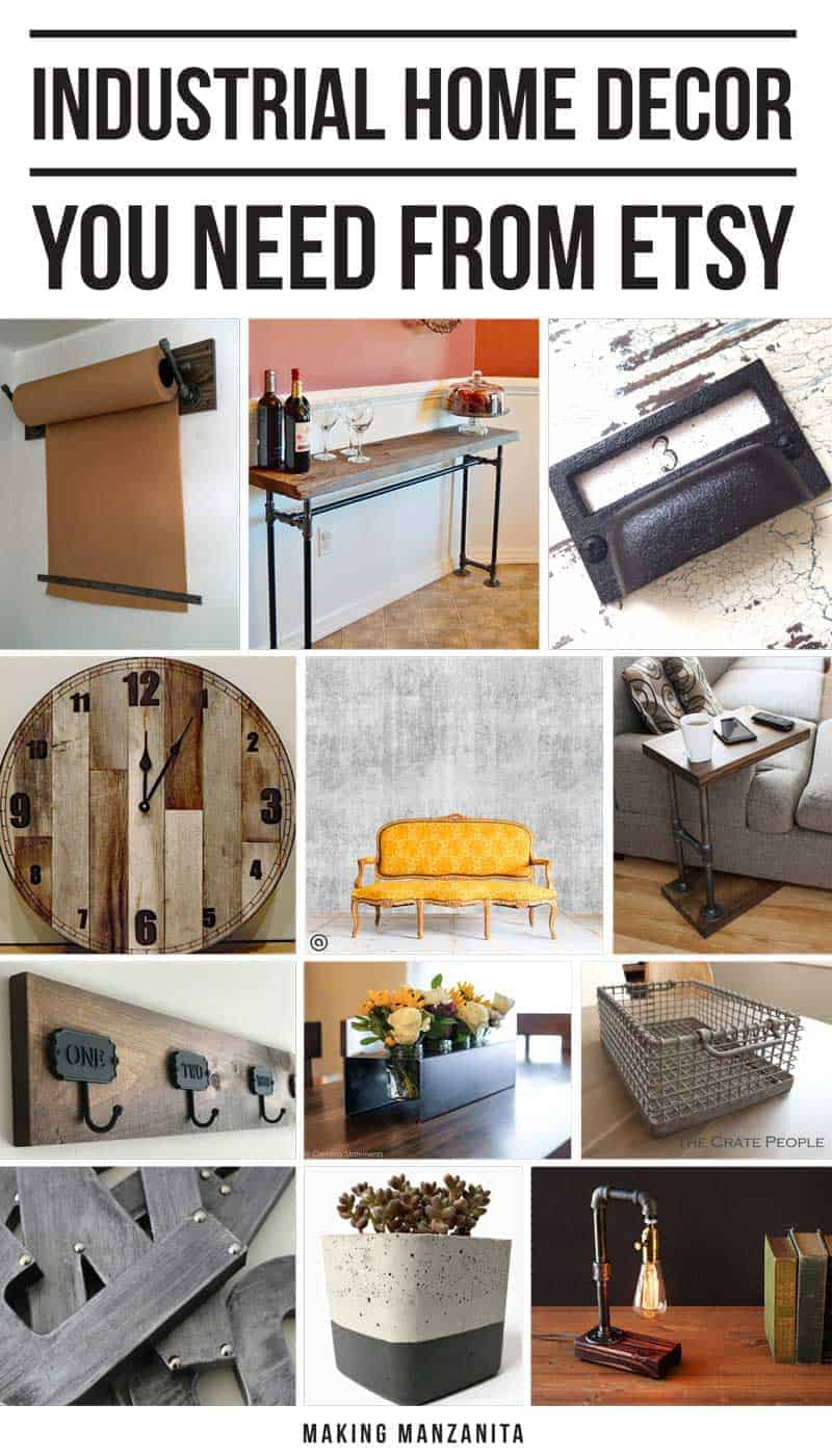 12 Industrial Home Decor Pieces You Need From Etsy | If you love industrial home decor, you're in for a treat. Here's 12 industrial home decor pieces you need from Etsy. With these industrial decor essentials, your home will be on trend and fit right in with the industrial style! | Kraft Paper Wall Mount | Sofa Table | Industrial Drawer Pulls | Rustic Wood Clock | Concrete Wallpaper | Sofa table | Coat Rack with Numbered Hooks | Metal Mason Jar Holder | Wire Basket | Metal Letters | Concrete Planter | Edison Bulb Lamp