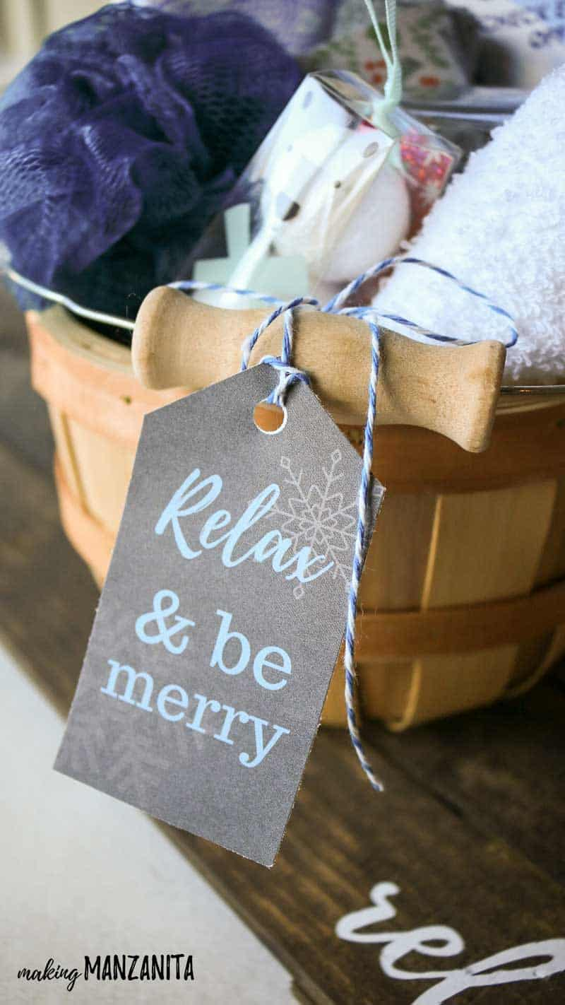 Relax & be merry Christmas gift tag printable goes perfect with this bath gift basket | Unique Christmas gift ideas for her
