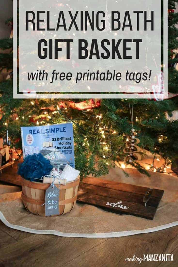 Learn how to make this DIY relaxing spa gift basket with free printable gift tags for the holidays! | Fun relaxing bath kit ideas | Unique Christmas gifts for her | Great homemade gift for mothers | Mom will love this awesome at-home day at the spas | Relax & Be Merry tag | Take some time to pamper yourself tag | DIY Spa in a basket | Gift idea for friends | Stress relief gift ideas | Relaxation gift basket