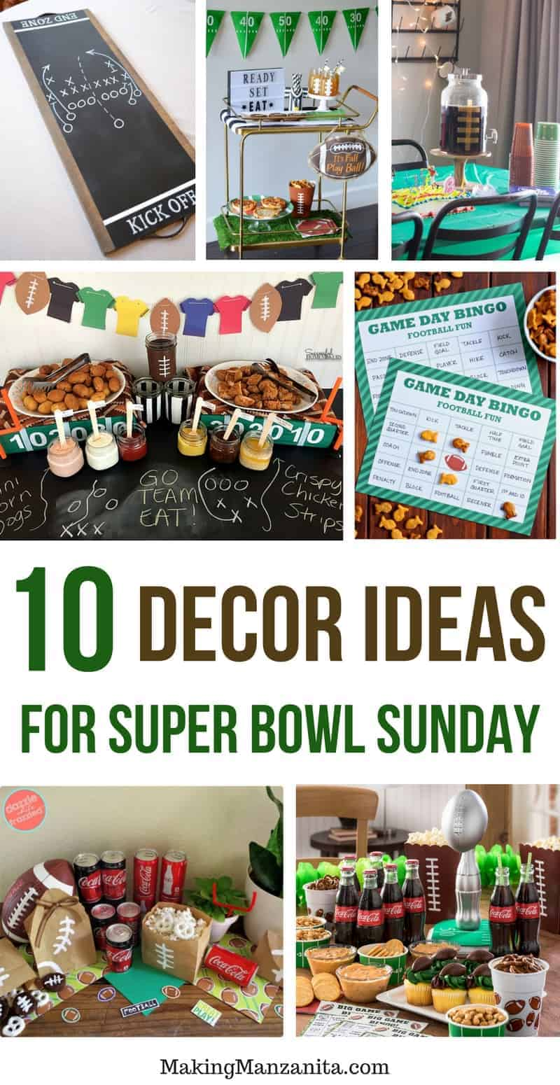 10 Decor Ideas for Super Bowl Sunday | 10 Simple Tutorials | How to make DIY Easy Super Bowl Decorations | Creative Printable Games (like Bingo Cards) for Football Party | Football Themed Party Projects like Tablescape | Football Serving Tray | Football Snack Bags | Decorated Bar Cart | DIY Trophy for Winner