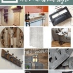 Collage of wall mount kraft dispenser, barn wood sofa table, vintage drawer pulls, rustic clock, concrete removal wallpaper, industrial side table, coat rack, galvanized metal basket, metal letters, concrete planter, table lamp, iron caster wheels with text overlay that says 12 Decor Ideas with Industrial Style