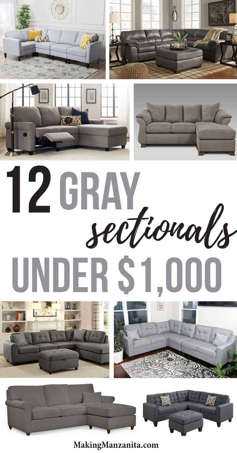 a collage of various grey sectionals ...with a text overlay that says... 12 grey sectionals under $1000