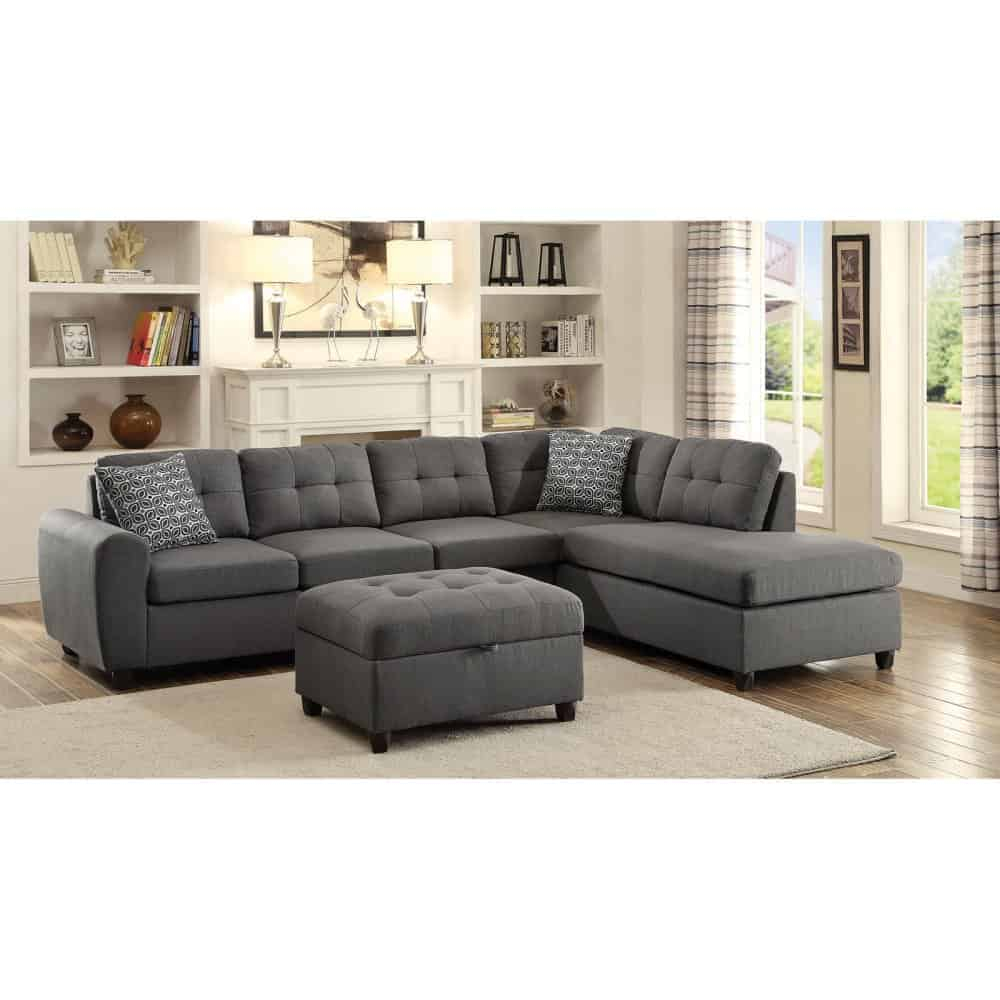 Large grey sectional with chaise and ottoman
