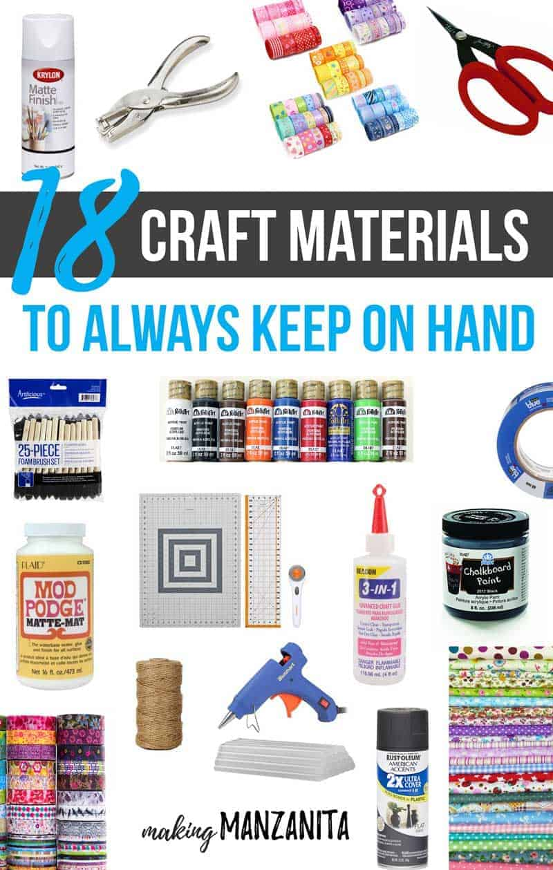Building out a good stock of craft supplies can be overwhelming. If you're wondering what you should always keep on hand for crafting, you're in luck. Today I'm sharing a list of 18 must have craft materials that are versatile and affordable for DIY projects and linking to tons of creative and fun tutorials for inspiration !