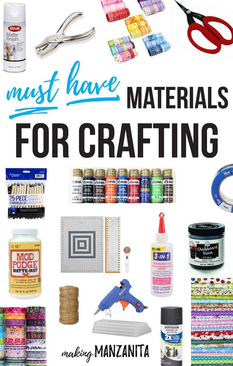 18 Must Have Affordable Craft Materials You Should Always Keep On Hand | Craft Supplies Every DIYer Should Have | What Products Do You Need To Start Crafting? | The most versatile crafting supplies | What to buy a crafter | Craft materials that every crafter should keep on hand for fun and simple DIY projects | Lots of creative tutorials linked within post!