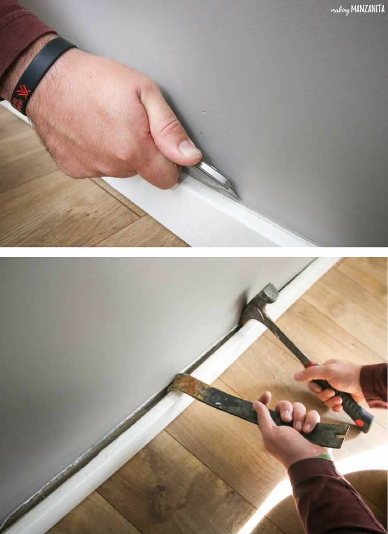 tall image split horizontally into two images, top image shows using a box cutter to start removing a baseboard, top image demonstrates a crowbar and hammer removing a baseboard