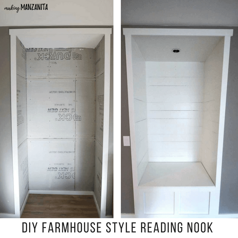 shows a before and after photos of alcove transformed into reading nook with text at bottom that says DIY farmhouse styled reading nook